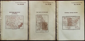 Harmsworth Universal Atlas Antique Maps of Central US, East of England & Canada