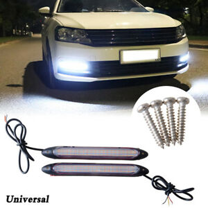 """2X 6"""" Universal Car LED White DRL Daytime Running Light Amber Turn Light Strip"""
