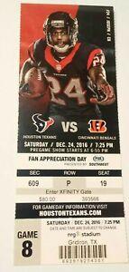 2016 Cincinnati Bengals Houston Texans NFL Football Ticket Stub