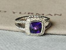 DAVID YURMAN STERLING SILVER Albion Diamonds 7mm Amethyst Ring,SIZE 8