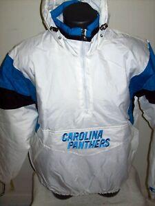 CAROLINA PANTHERS NFL Starter Hooded Half Zip Pullover Jacket M XL 2X  WHITE