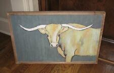 BiG Textile LONGHORN COW PICTURE*Primitive/French Country Farmhouse Decor*New!