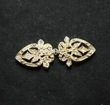 Vintage Yellow Gold Heart Rhinestone Crystal Wedding Closure Hook Eye Clasp