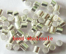 Free Shippping 500pcs Dark Silver Tube Crimp End Spacer Beads 2mm