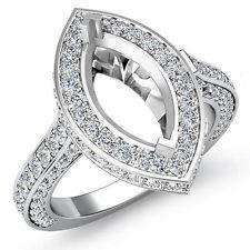 Diamond Engagement Ring Marquise Semi Mount 18k White Gold Halo Setting 1.6Ct