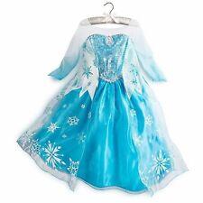 Disney Store Long Cape Frozen Princess Elsa Dress Ice Costume Gown Size 9-10 NEW