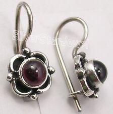 """Earrings 0.7"""" Old Style Jewelry 925 Sterling Silver Wonderful Garnet Ethnic"""