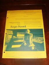 """Ultra Rare 1974 MOOG SYNTHESIZER """"MOOG SORCERY WITH ROGER POWELL"""" NEWSLETTER"""