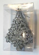 3 SILVER GLITTER CHRISTMAS TREES SHATTER RESISTANT HOLIDAY ORNAMENTS DECORATION