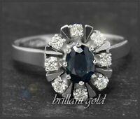 Diamant Brillant & Saphir Damen Cocktial Ring mit 1,10ct, aus 585 Gold, Weißgold