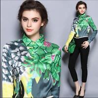 Womens Flower Pattern Long Sleeve Slim Fit European Style T-Shirt Tops Blouse