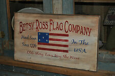 "Primitive Betsy Ross American Flag Wood Sign 20"" Long Rustic Folk Art Home Decor"