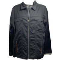 Chicos Womens Jacket Size Large 2 Long Sleeve Full Zip Up Black Zip Pockets