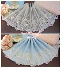 "7.5""*1Y Embroidered Tulle Lace Trim~Light Peach Pink+Light Yellow~Singing~"