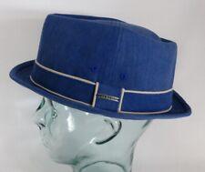 STETSON Norwood Diamond Pork Pie Hut Baumwolle blau Stoffhut Player Hat 1331101
