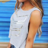 Women Summer O-Neck Crop Top Sleeveless Ladies Casual Short Vest T-Shirt Blouse