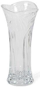 Small Glass Flower Vase 17cm Tall, Flared Design, Rippled Cut Glass Design