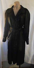 80-90s Black Shiny Light Weight Trench Coat w/ Belt by Vision szL