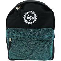 Hype Glitter Pocket Unisex Backpack in Black with Velour Green Pocket