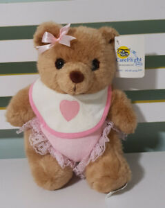 Racq Careflight Bear Baby Pink Bow Pink Bib With Love Heart! Frilly Nappy!Teddy
