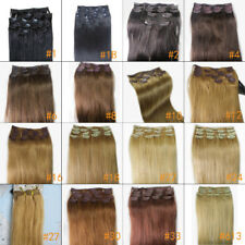 "Lot 20"" 100% Human Hair Extensions Clips In Straight Hair 70gr More Color Choice"