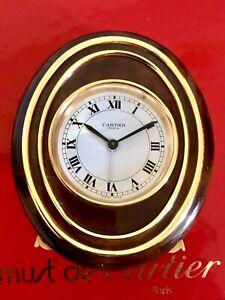 Cartier Paris Tischuhr Reisewecker Pendulette Chinalack Braun Gold Handaufzug