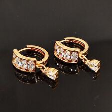 NEW Women Fashion White Cubic Zirconia Small Hoop Huggie Drop Earrings Jewelry