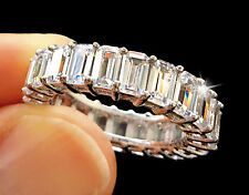 5 ct tw Emerald Cut Eternity Band Top Russian AAAAA CZ Moissanite Simulant S 10