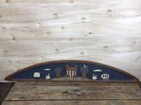 Chicken Creek Folk Art Primitive Carved Wood Door Window Topper 1993 35 inch