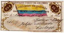 Colombia - 25c Insured Letter (Cubierta) - Medellin to Cartago - Sc G1 - 1865