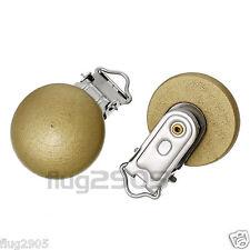 5 x Schnullerkettenclip gold Weihnachten Schnullerclip Holzclip Babyclip
