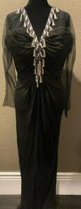 Vintage Bob Mackie Evening Gown Black Dress Hand Beaded Sequin Silk Size 12