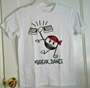 The Children's Place Boys Size L 10-12 White  Break Dance Graphic T-Shirt NWT