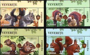 """4 STAMP WITH Vignettes = 1 FULL SET/ ROMANIA 2020 VEVERITE """"SQUIRRELS"""" MNH"""