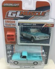 GreenLight '12 GL Muscle Lt Blue 1971 Chevy C10 Limited Shop Tool 1:64 Fast Ship