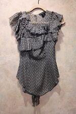 Thomas Wylde 100% Silk Womens Blouse Shirt Top Gray Pattern Ruffle XS X-Small