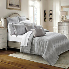 New 3 Piece Erika Grey Quilted Bedspread King Size Bed Throw With Pillow Shams