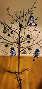 """46"""" Black Metal Ornament Tree Christmas or Year Round Decor 7 Removable Branches"""