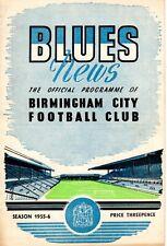 Birmingham City v Arsenal programme, 1st Division, December 1955