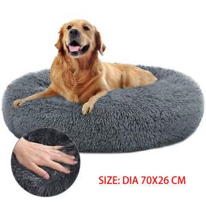 Large Comfy Calming Dog Cat Warm Bed Pet Round Super Soft Mattress Puppy Beds UK