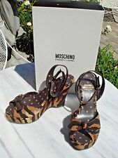 MOSCHINO CHEAP & CHIC 6.5 PLATFORM WEDGES ANKLE STRAP SANDALS ANIMAL BROWNS 37.5