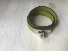 Hermès  leather Kelly bracelet armband double tour vert anis year F