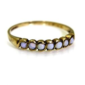 9ct 9k Gold Natural Opal Half Eternity Ring Size 6 1/4 - M