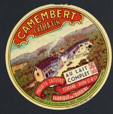 Original French Camembert Cheese Label, Factory, 586, wear