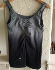 Lululemon Tank Top 4 Gray Black Ombre Ruched RARE
