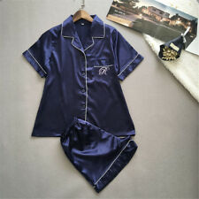 Womens Silk Satin Nightie Lingerie Sleepwear Pyjamas Set Short Sleeve Top + Pant