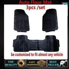 3PCS PVC Rubber Floor Mats  Suit For Car 5 Seats Sedan SUV Front+Rear Trim
