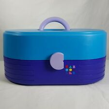 Caboodles Make Up Train Case Organizer Teal Purple Swing Out Trays 2614 Vtg