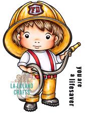 FIREMAN LUKA-La-La Land Crafts Cling Rubber Stamp-Stamping Craft-Firefighter