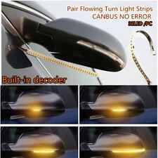 1 Pair 18cm Car Rear Mirrors Flexible Amber LED Flowing Turn Signal Strip Light